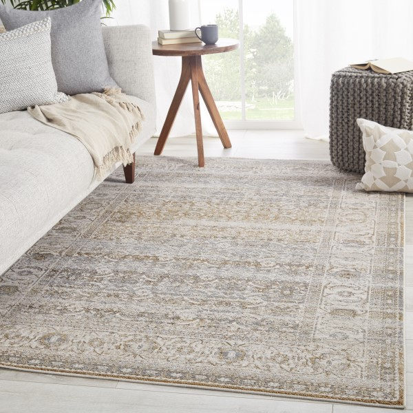 Grey, Tan (SNL-03) Vintage / Overdyed Area Rug