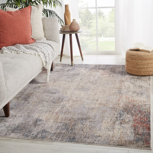 Light Taupe, Blue (VND-07) Contemporary / Modern Area Rug