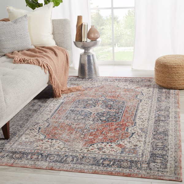 Grey, Red (VND-04) Vintage / Overdyed Area Rug