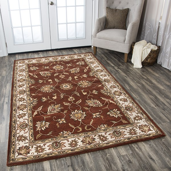 Rust, Ivory Traditional / Oriental Area Rug