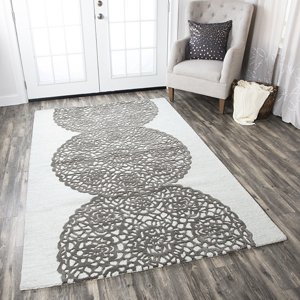 White, Gray Geometric Area Rug