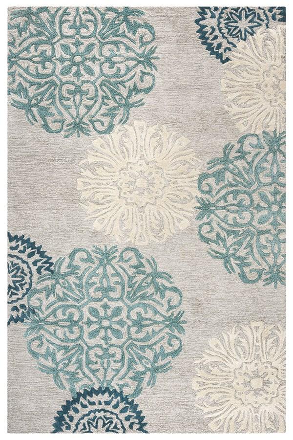Light Gray, Ivory, Charcoal, Aqua Transitional Area Rug