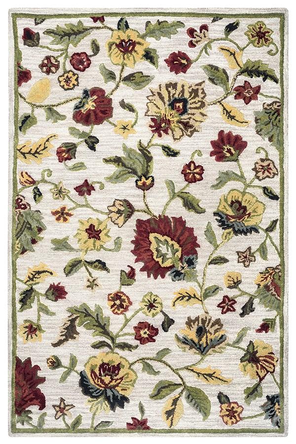 Ivory, Coral, Sage, Tan Floral / Botanical Area Rug