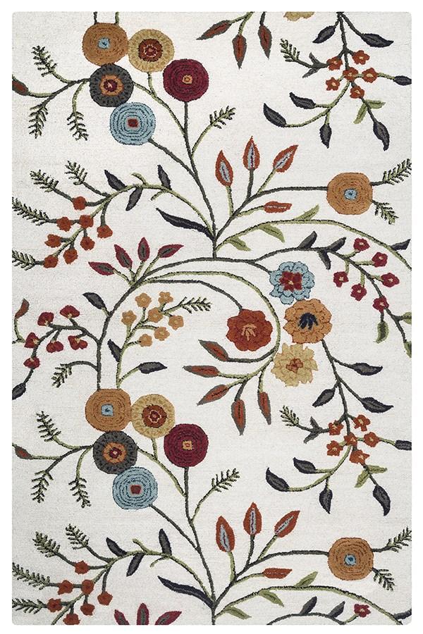 White, Orange, Rust, Yellow Floral / Botanical Area Rug