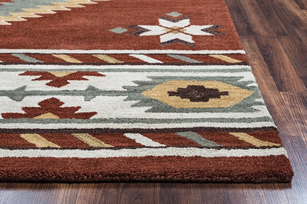 Navajo Red, White, Sage, Brown Southwestern / Lodge Area Rug