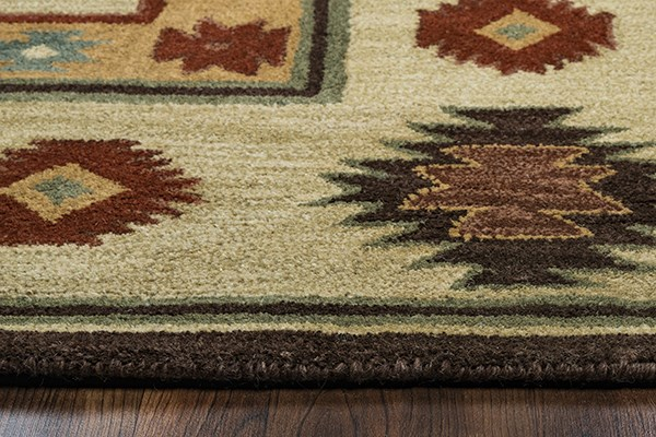 Beige, Light Rust, Dark Rust, Brown Southwestern / Lodge Area Rug
