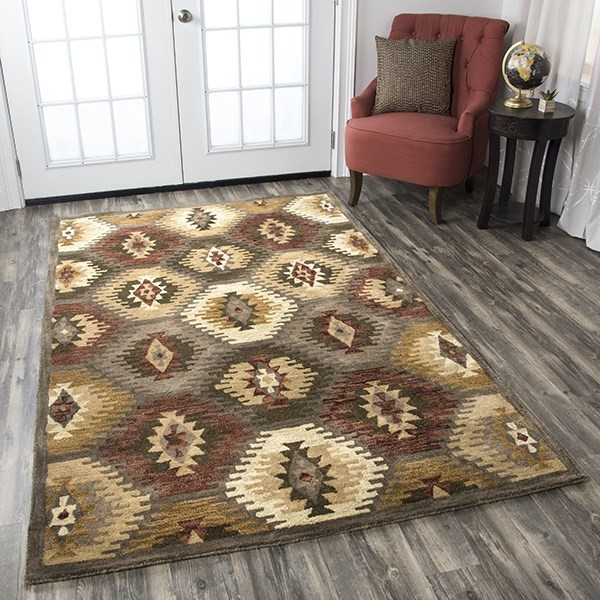 Brown, Burgundy Southwestern Area Rug