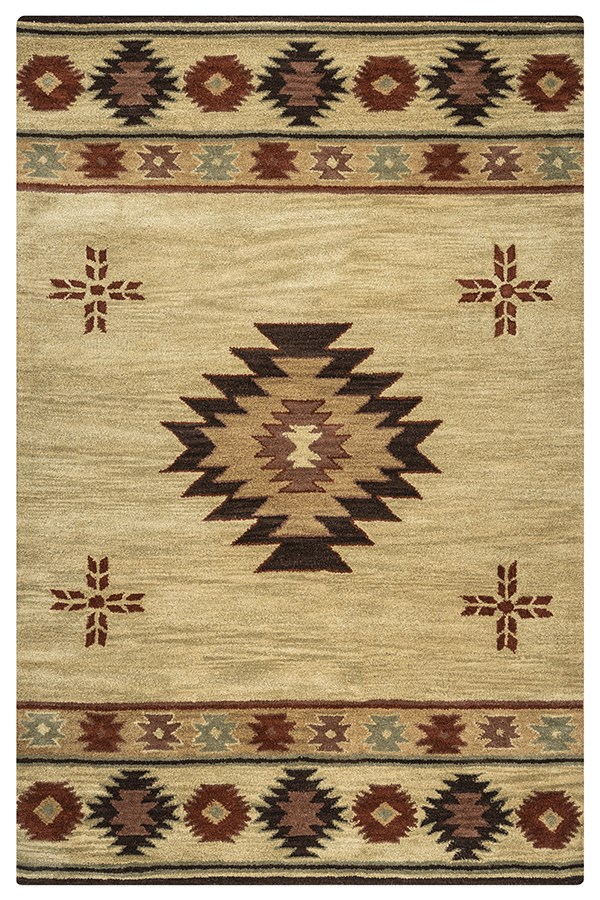 Beige, Brown, Gold, Gray, Light Rust Southwestern / Lodge Area Rug