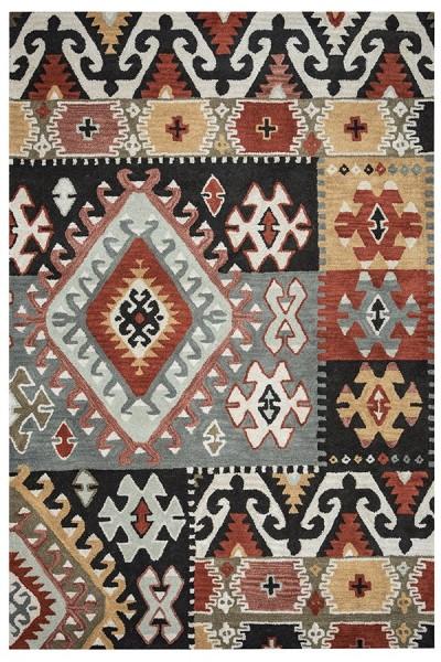 Gray, Rust, Black Moroccan Area Rug