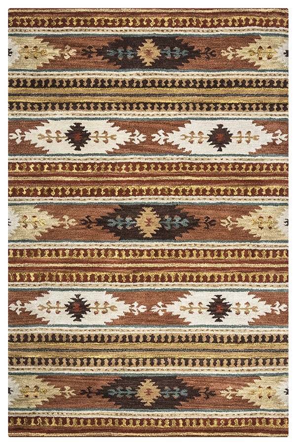 Rust, Ivory, Brown Southwestern / Lodge Area Rug