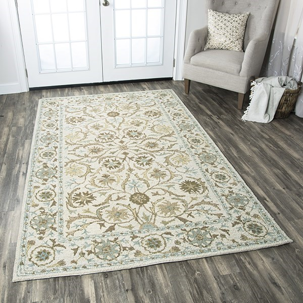 Beige, Blue, Gray, Green Traditional / Oriental Area Rug