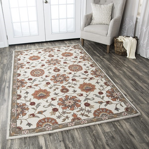Beige, Taupe, Orange, Slate Traditional / Oriental Area Rug