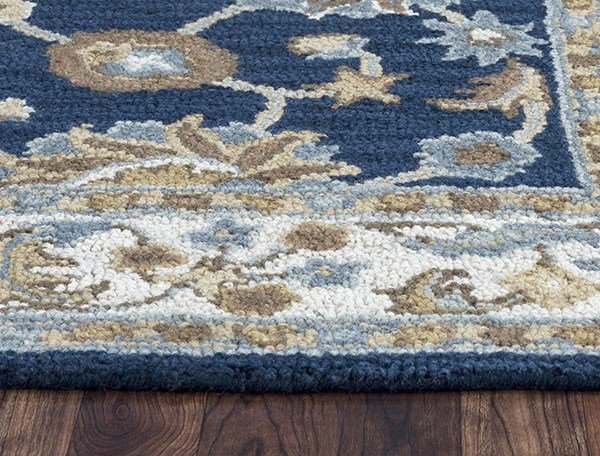 Navy, Ivory, Tan, Brown Traditional / Oriental Area Rug