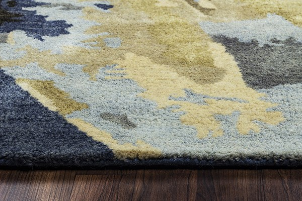 Navy, Tan, Ivory Contemporary / Modern Area Rug