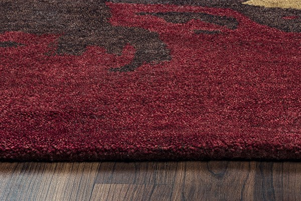 Brown, Gold, Red Contemporary / Modern Area Rug