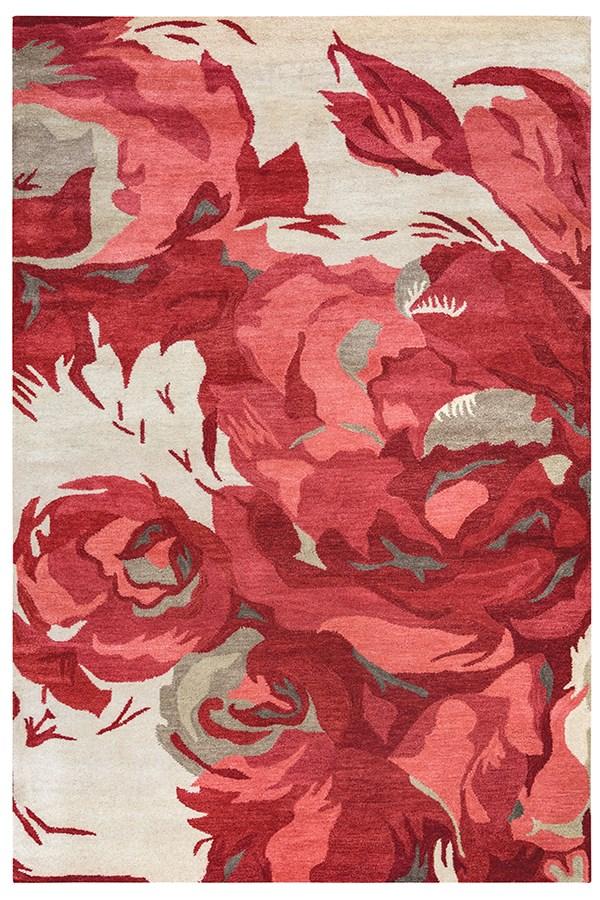 Beige, Coral, Dark Red Contemporary / Modern Area Rug