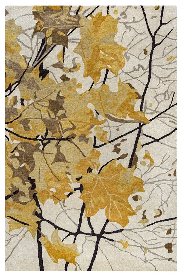 Beige, Dark Gold, Brown, Dark Brown Floral / Botanical Area Rug
