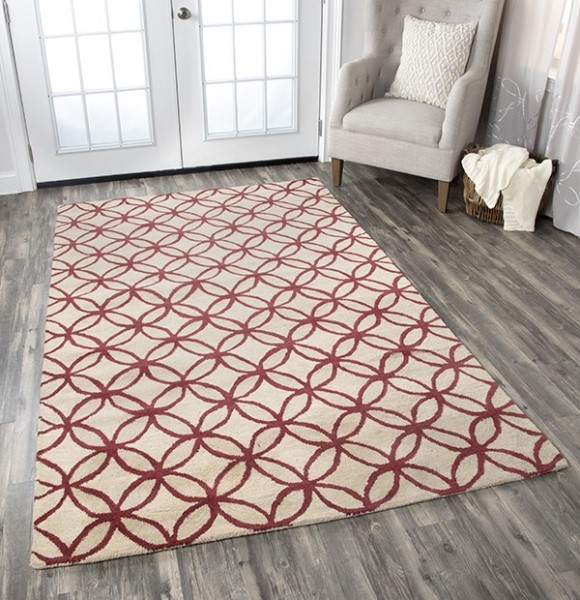 Beige, Red Transitional Area Rug