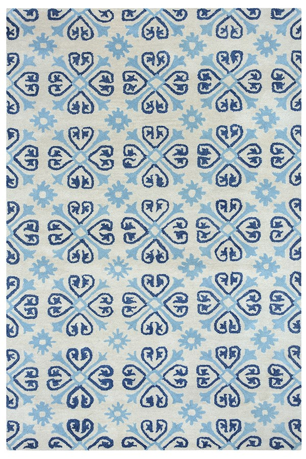 Ivory, Light Blue, Indigo Transitional Area Rug