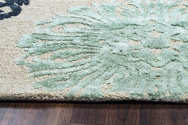 Beige, Aqua, Charcoal, Slate Transitional Area Rug