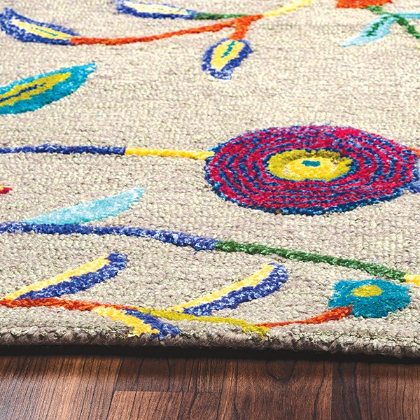 Dark Grey, Magenta, Teal, Yellow Floral / Botanical Area Rug