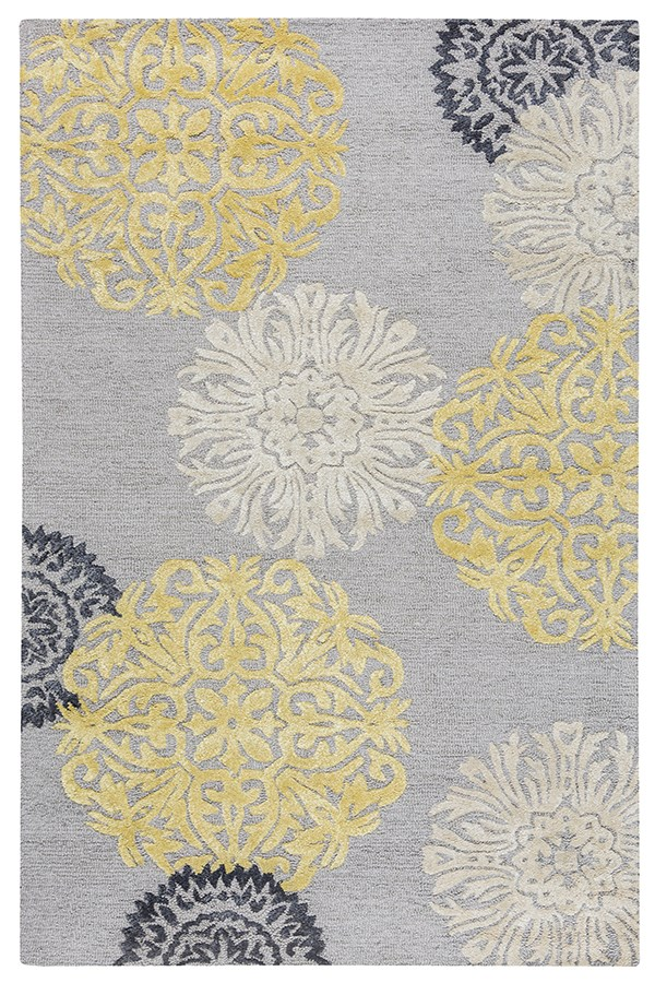 Gray, Yellow, Pink Transitional Area Rug
