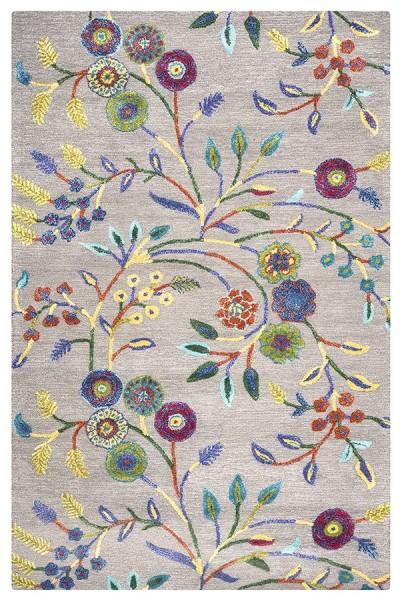 Dark Grey, Magenta, Teal, Yellow Floral / Botanical Area Rug
