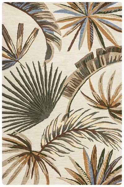 Khaki, Sage, Orange Floral / Botanical Area Rug