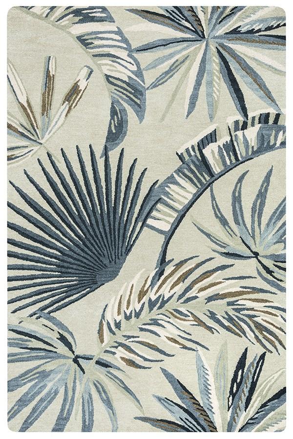 Khaki, Blue, Off White Floral / Botanical Area Rug