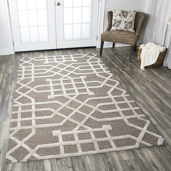 Taupe, Tan Transitional Area Rug