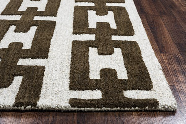 Off White, Brown Contemporary / Modern Area Rug