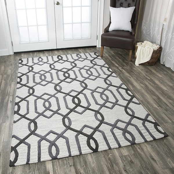 Grey, Off White Transitional Area Rug