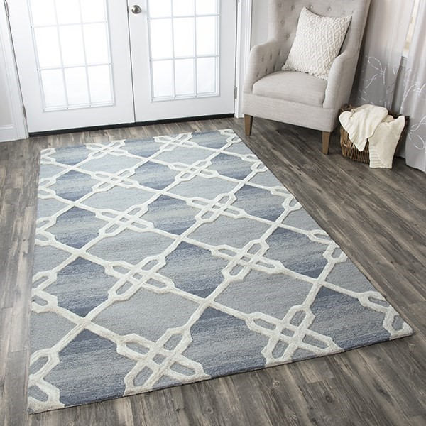 Blue, Off White Contemporary / Modern Area Rug