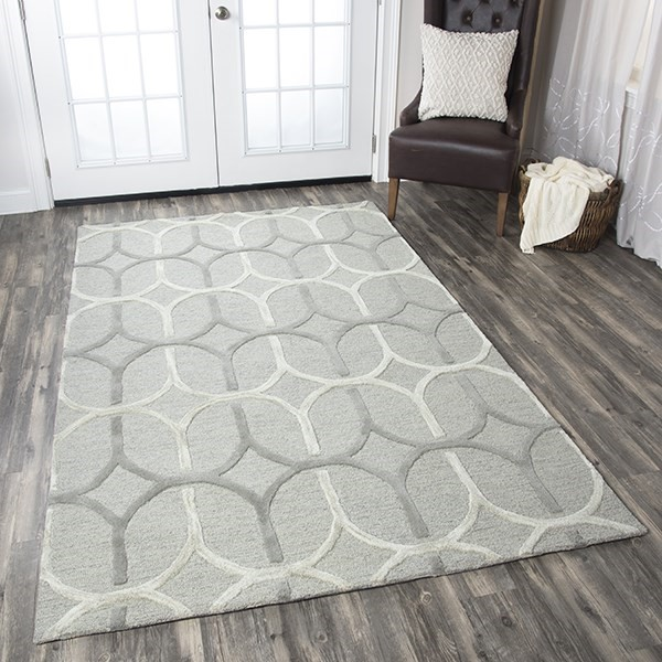 Grey, Off White Geometric Area Rug