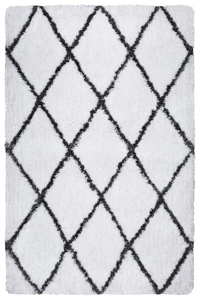 White, Gray Shag Area Rug