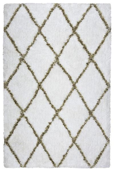 White, Beige Shag Area Rug
