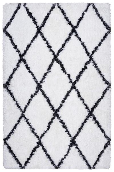 White, Black Shag Area Rug