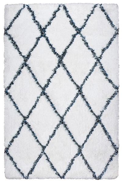 White, Blue Shag Area Rug