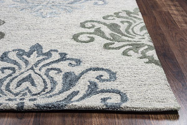 Grey, Off White Damask Area Rug