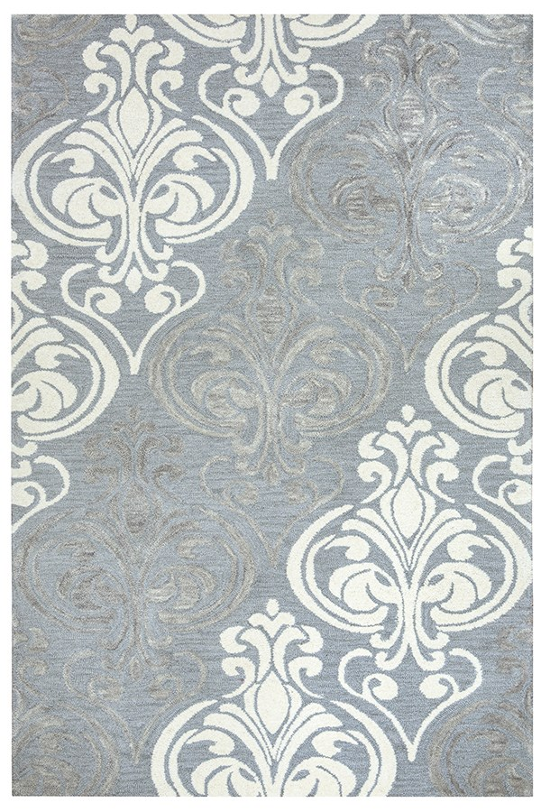 Blue Grey, Off White Transitional Area Rug