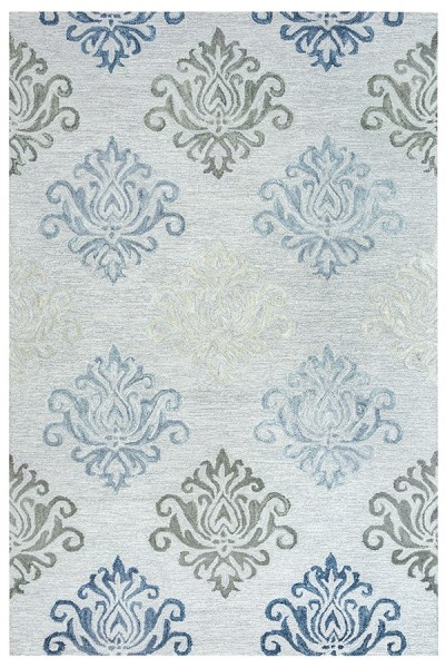 Grey, Off White Traditional / Oriental Area Rug