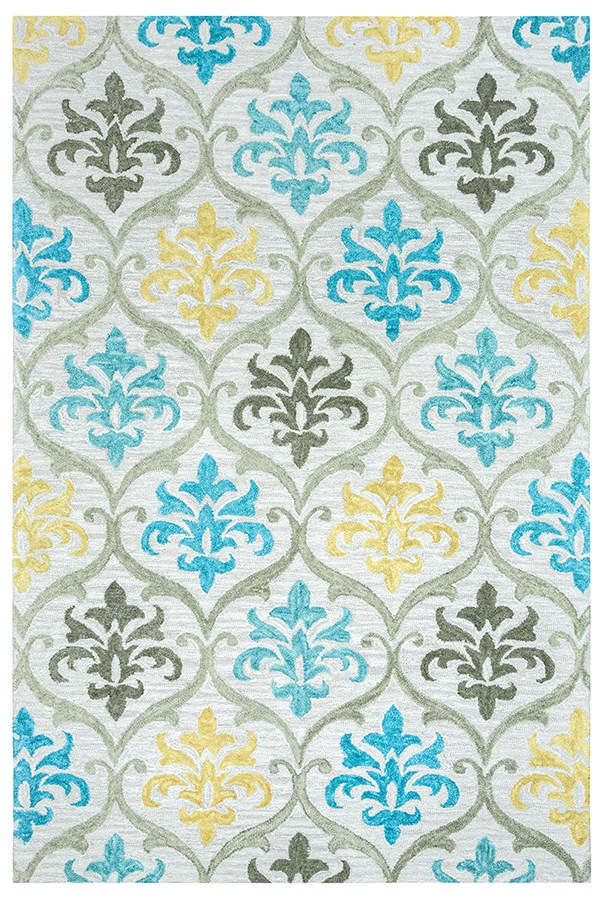 Grey, Silver, Yellow, Blue Damask Area Rug
