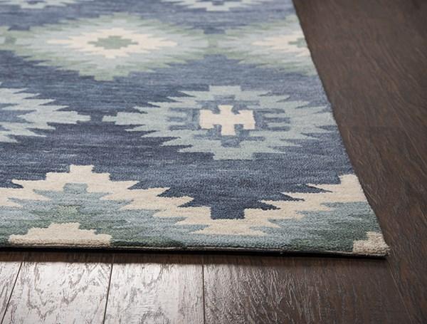 Blue, Green, Natural Southwestern / Lodge Area Rug