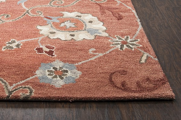Paprika, Blue, Gray Traditional / Oriental Area Rug