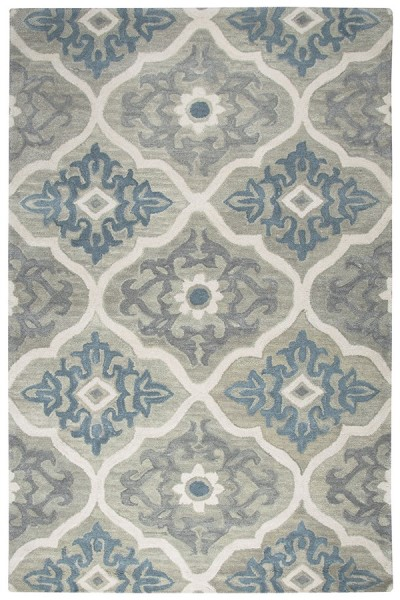 Gray, Light Blue, Ivory Moroccan Area Rug