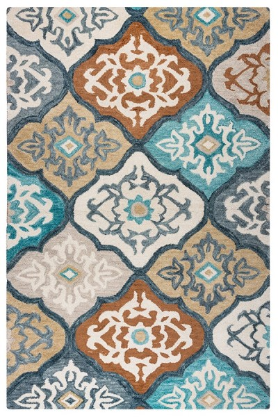 Ivory, Gray, Paprika Contemporary / Modern Area Rug