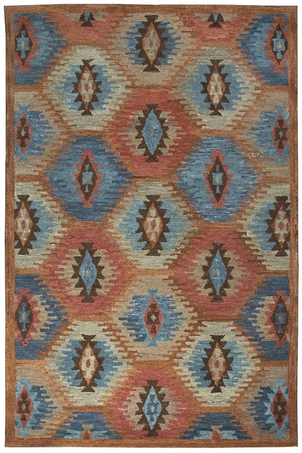 Paprika, Blue, Tawney Southwestern / Lodge Area Rug