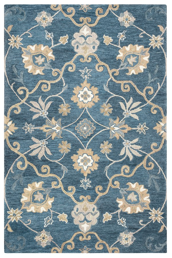 Blue, Tawney Traditional / Oriental Area Rug