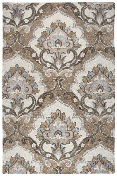 Mocha, Ivory, Brown Contemporary / Modern Area Rug