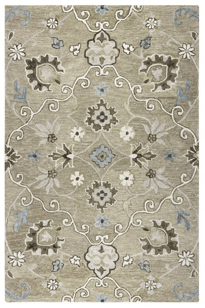 Mocha, Ivory, Brown Traditional / Oriental Area Rug